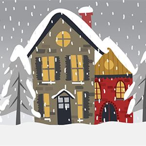 Illustration of a house in winter