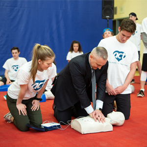 photo of Jason Fitzsimmons getting first-aid training from the ACT Foundation