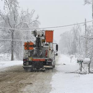 Image of an icy road lined with ice-covered trees and hydro poles