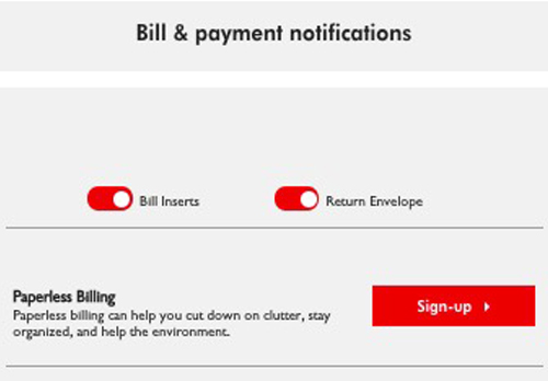 Paperless billing signup button