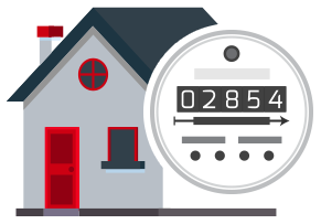Icon image of a house with a meter infront of it