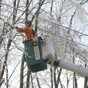 Image of a Hydro One employee fixing power lines from a winter storm
