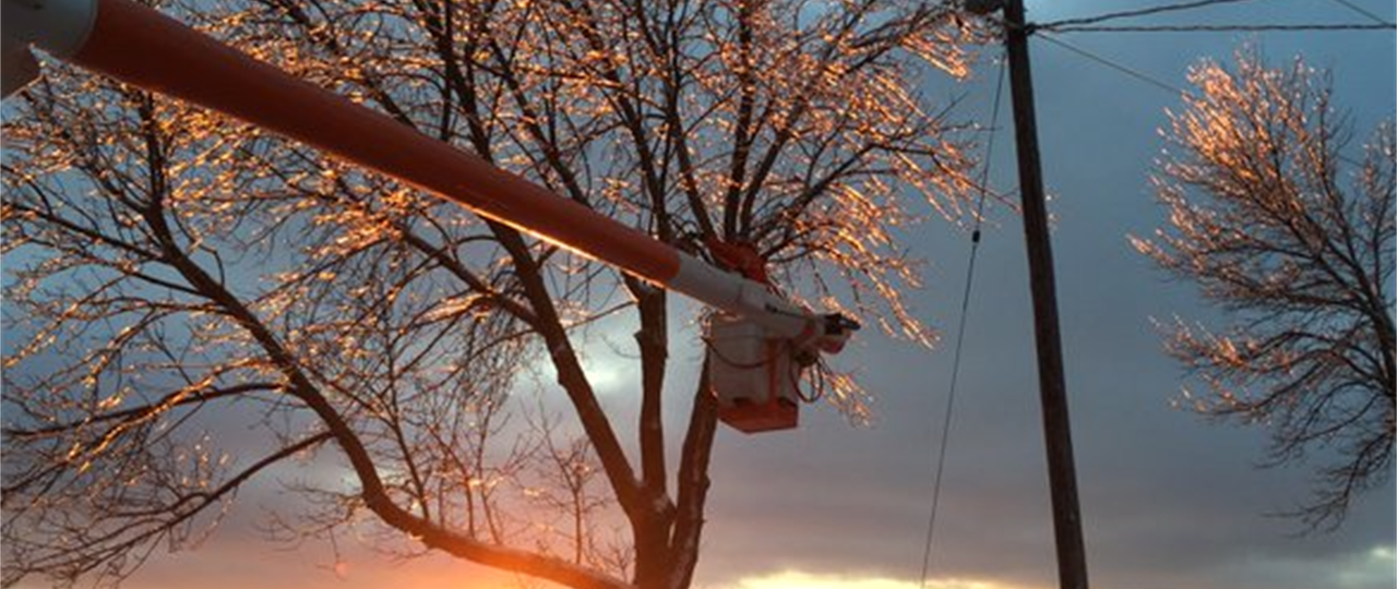 image of powerline being repaired