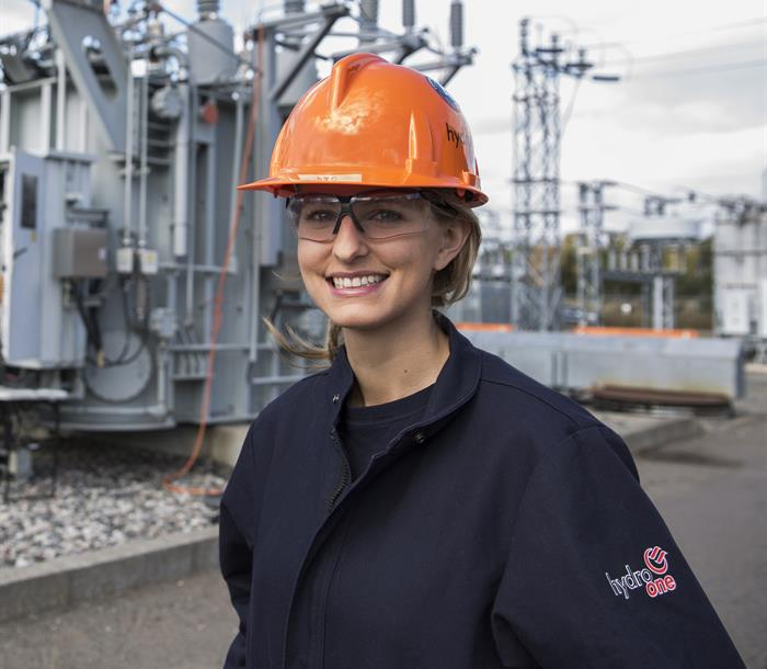image of a female Hydro One worker at a Transmission Station