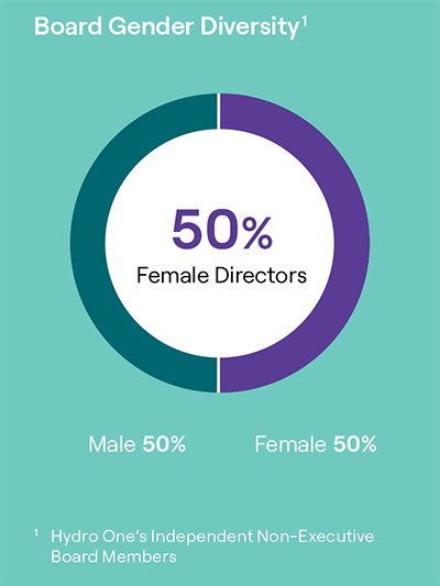 pie chart showing Board gender diversity with 50 per cent females