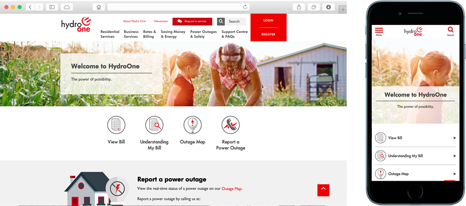 The new Hydro One website works on Mobile and Desktop devices.