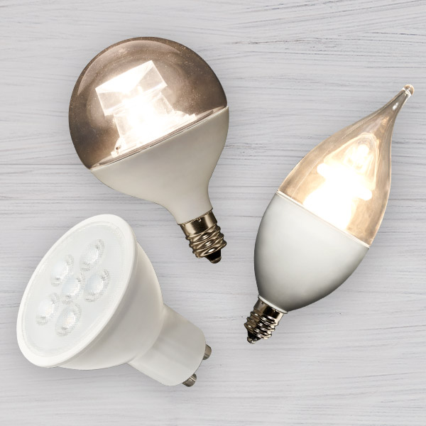 Different LED bulb shapes (including flood, globe, and candle)