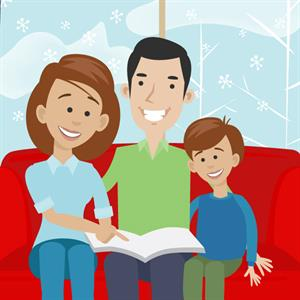 Illustration of a family sitting on a couch in the winter