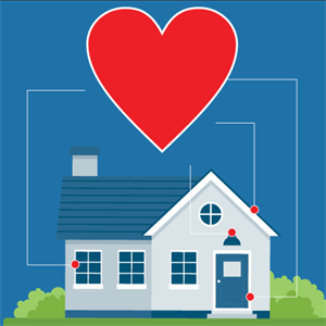illustration of a house with a heart above it