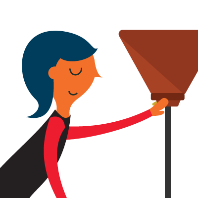 illustration of a woman turning on a lamp