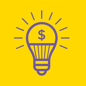 Illustration of a light bulb with a dollar sign inside it